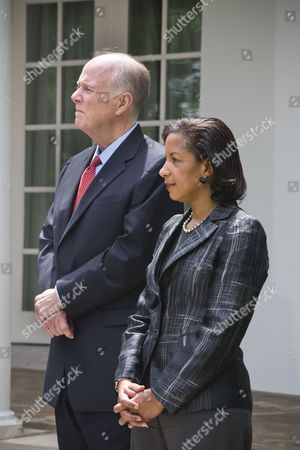 Susan Rice (r) President Obama's New National Security Adviser Stands Next to Her Predecessor Tom Donilon (l) in the Rose Garden of the White House in Washington Dc Usa 05 June 2013 United States Washington