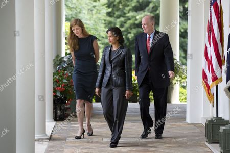 Susan Rice (c) Enters the Rose Garden where President Obama (not Pictured) Named Her His New National Security Adviser at the White House in Washington Dc Usa 05 June 2013 Rice Will Replace Tom Donilon (r) who is Retiring From the Post Obama Also Named Samantha Power (l) As the New Us Ambassador to the United Nations United States Washington