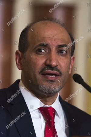 Syrian Opposition Coalition President Ahmad Al-jarba Talks to the Media Before Meeting with Us Secretary of State John Kerry (not Pictured) at the State Department in Washington Dc Usa 08 May 2014 Al-jarba is in Dc Lobbying For Better Arms to Fight Syrian President Bashar Al-assad's Forces United States Washington