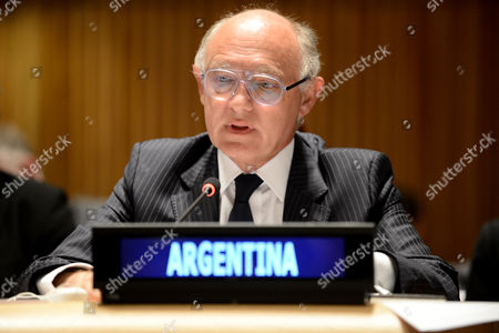 Hector Marcos Timerman Argentina's Minister of Foreign Affairs Speaks During the Arms Trade Treaty Ceremony at Un Headquarters in New York New York Usa 03 June 2013 the United Nations Arms Trade Treaty the First Internationally Binding Accord to Regulate Trade in Arms and Ammunition Worldwide was Opened 03 June For Signatures Envoys From Dozens of Countries Including Major Arms Manufacturers Such As Germany Britain and France Were Expected to Ink Their Signatures at Un Headquarters in New York the Signing is the First Step in the Legal Process Before the Treaty Will Enter Into Force After More Than 20 Countries Have Ratified It United States New York