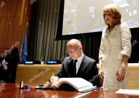 Hector Marcos Timerman (l) Argentina's Minister of Foreign Affairs Signs the Arms Trade Treaty at United Nations Headquarters in New York New York Usa 03 June 2013 This is the First International Treaty Regulating the Multibillion-dollar Global Arms Trade the Treaty Requires Countries That Ratify It to Establish National Regulations to Control the Transfer of Conventional Arms and to Regulate Arms Sellers But Does Address the Domestic Use of Weapons in Any Country at Right is Patricia O'brien Under-secretary-general For Legal Affairs and United Nations Legal Counsel United States New York