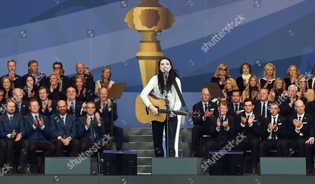 Scottish Singer Amy Mcdonald (c) Performs During the Opening Ceremony of the 40th Ryder Cup at Gleneagles Perthshire Scotland 25 September 2014 United Kingdom Gleneagles