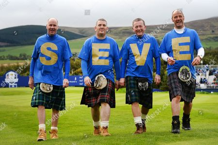 Stock Image of European Ryder Cup Fans Spell out the Name Seve on Their T-shirts - in Remembrance of Spanish Legend Seve Ballesteros - During the Third and Last Day of Official Practice Prior to the Start of the 40th Ryder Cup at Gleneagles Perthshire Scotland 25 September 2014 the Ryder Cup Begins on Sep 26 United Kingdom Gleneagles