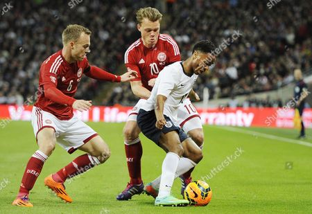 England's Raheem Sterling (r) in Action Against Denmark's Lars Jacobsen (l) and Team Mate Emil Larsen During the International Soccer Friendly Match Between England and Denmark at Wembley Stadium in London Britain 05 March 2014 United Kingdom London