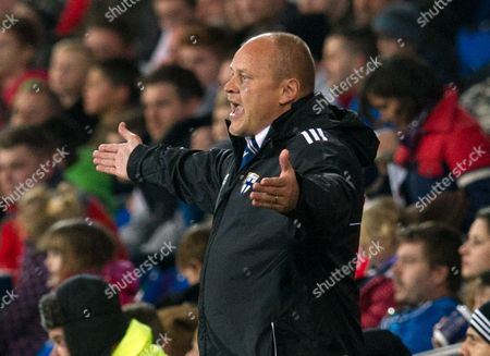 Finland Manager Mixu Paatelainen Reacts During the International Friendly Soccer Match Between Wales and Finland at the City Stadium in Cardiff Wales 16 November 2013 United Kingdom Cardiff