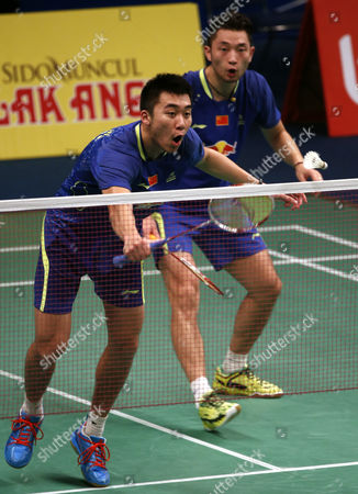 Chai Biao (r) and Hong Wei (l) of China in Action Against Lee Yong Dae and Yoo Yeon Seong of Korea During Their Men's Doubles Match at the Bca Indonesia Open 2015 Badminton Tournament in Jakarta Indonesia 05 June 2015 Indonesia Jakarta