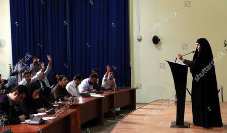 Stock Photo of Iranian Deputy Foreign Minister Marzieh Afkham (r) Speaks to the Media in Tehran Iran 10 September 2013 Afkham Said That Iran Welcomes Russia's Proposal on International Control of Chemical Weapons in Syria Iran (islamic Republic Of) Tehran