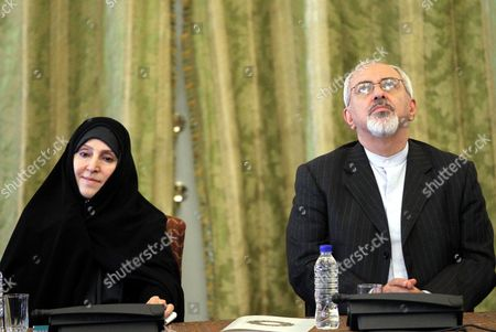 Iranian Foreign Minister Mohammad Javad Zarif (r) Introduces Marzieh Afkham (l) As Spokeswoman of the Foreign Ministry During a Ceremony in Tehran Iran 01 September 2013 It is For the First Time in Its 34-year-old History That the Islamic Republic of Iran Has Appointed a Woman As Spokesperson For the Foreign Ministry the 47-year-old Afkham Has For Almost Two Decades Been General Director of Different Departments in the Foreign Ministry Including in Charge of Media Affairs Iran (islamic Republic Of) Tehran
