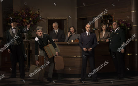 'The Halcyon' (Episode 1) L - R: Nick Brimble as Skinner, Ewan Mitchell as Billy, Michael Carter as Wilfred, Liz White as Peggy, Steven MacKintosh as Richard, Hermione Corfield as Emma and Mark Benton as Feldman.
