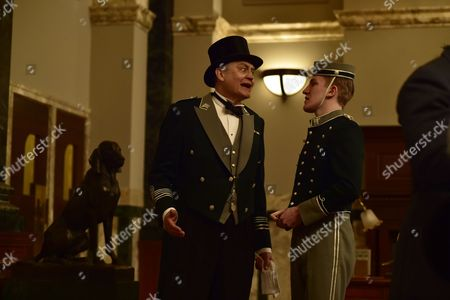 Stock Image of 'The Halcyon' (Episode 1) - Nick Brimble as Skinner and Ewan Mitchell as Billy.