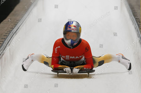 Third Place Winner Anja Huber Selbach of Germany Reacts During the Women's Skeleton Competition During the Fibt Bobsleigh & Skeleton World Cup 2014/2015 in Sochi Russia 14 February 2015 Russian Federation Sochi