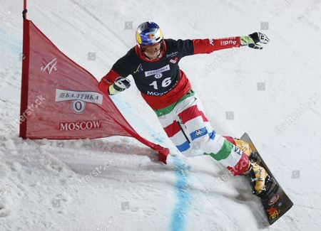Third Place Roland Fischnaller of Italy Performs During the Mens Parallel Slalom Competition at the Fis Snowboard World Cup 2015 in Moscow Russia 07 March 2015 Russian Federation Moscow