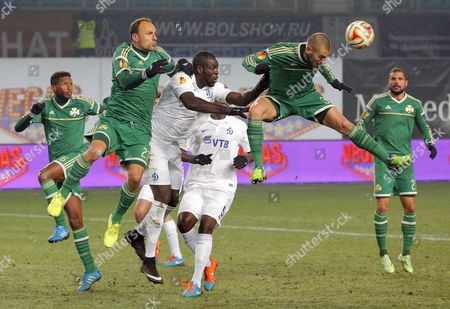 Mladen Petric (2-r) of Panathinaikos in Action During the Uefa Europa League Group E Soccer Match Between Dinamo Moscow and Panathinaikos Athens in Moscow Russia 27 November 2014 Russian Federation Moscow