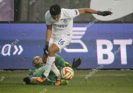 Stock Photo of Christian Noboa (front) of Dinamo Vies For the Ball with Mladen Petric of Panathinaikos During the Uefa Europa League Group E Soccer Match Between Dinamo Moscow and Panathinaikos in Moscow Russia 27 November 2014 Russian Federation Moscow