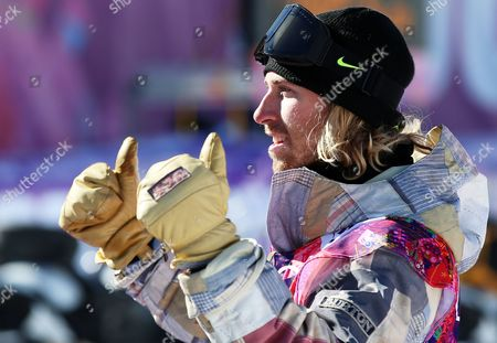 Sage Kotsenburg of the Usa Reacts After Winning the Men's Snowboard Slopestyle Final at Rosa Khutor Extreme Park at the Sochi 2014 Olympic Games Krasnaya Polyana Russia 08 February February 2014 Russian Federation Krasnaya Polyana
