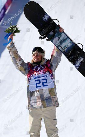 Sage Kotsenburg of the Usa Celebrates After Winning the Men's Snowboard Slopestyle Final at Rosa Khutor Extreme Park at the Sochi 2014 Olympic Games Krasnaya Polyana Russia 08 February February 2014 Russian Federation Krasnaya Polyana