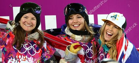 (l-r) Kelly Clark of the Us (bronze) Kaitlyn Farrington of the Us (gold) and Torah Bright of Australia (silver) Celebrate After the Women's Snowboard Halfpipe Final at Rosa Khutor Extreme Park During the Sochi 2014 Olympic Games Krasnaya Polyana Russia 12 February 2014 Russian Federation Krasnaya Polyana