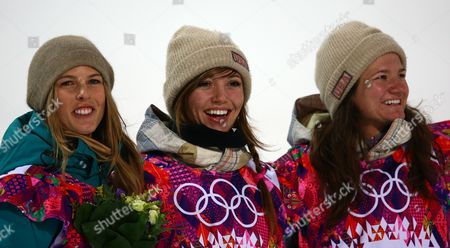 (l-r) Torah Bright of Australia (silver) Kaitlyn Farrington of the Us (gold) and Kelly Clark of the Us (bronze) Celebrate After the Women's Snowboard Halfpipe Final at Rosa Khutor Extreme Park During the Sochi 2014 Olympic Games Krasnaya Polyana Russia 12 February 2014 Russian Federation Krasnaya Polyana