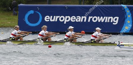 Germany's Marie-catherine Arnold Julia Lier Julia Richter and Mareike Adams Compete in the Women's Quadruple Sculls Final at the European Rowing Championships in Belgrade Serbia 01 June 2014 Serbia and Montenegro Belgrade
