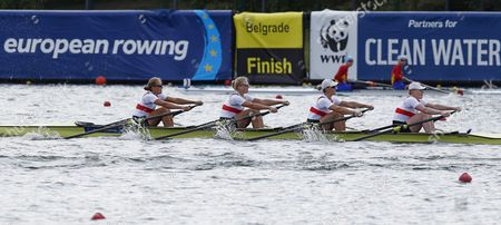 Germany's (l-r) Marie-catherine Arnold Julia Lier Julia Richter and Mareike Adams Compete in Women's Quadruple Sculls Heat at the European Rowing Championships in Belgrade Serbia 30 May 2014 Serbia and Montenegro Belgrade