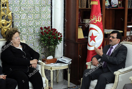 Tunisian Prime Minister Ali Larayedh (r) Meets with Italian Minister of Interior Anna Maria Cancellieri (l) at the Government Palace in Tunis Tunisia 24 April 2013 Cancellieri Arrived on 23 April on a Two-day Visit During Which She Will Have Talks with Tunisian Officials on Cooperation to Face Illegal Immigration Tunisia Tunis
