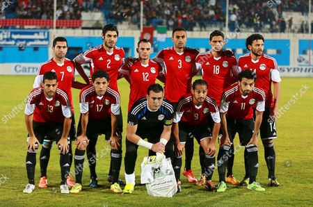 Egyptian National Soccer Team Players (front Row L-r) Sabry Rahil Mohamed Al Nabi Goalkeeper and Captain Essam El Hadary Walid Sliman and Mohamed Salah; (back Row L-r) Ahmed Fethy Ali Gabr Khaled Kamr Ahmed Mohamady Mohamed Nagib and Hossam Ghaly Pose For Photographers Before the African Cup of Nations 2015 Qualifying Soccer Match Between Tunisia and Egypt at Mustapha Ben Jennet Stadium in Monastir Tunisia 19 November 2014 Tunisia Monastir