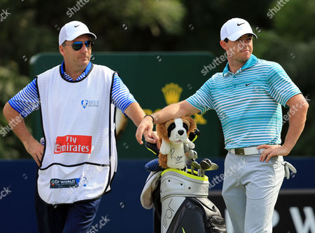 Rory Mcilroy (r) of Northern Ireland and His Caddie Jp Fitzgerald During the Second Round of the World Tour Championship Golf Tournament at Jumeirah Golf Estates in Dubai United Arab Emirates on 21 November 2014 United Arab Emirates Dubai