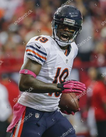 Chicago Bears Wide Receiver Josh Morgan Reacts After Scoring a Touchdown Against the Atlanta Falcons During the Second Quarter of Their Nfl American Football Game at the Georgia Dome in Atlanta Georgia Usa 12 October 2014 United States Atlanta