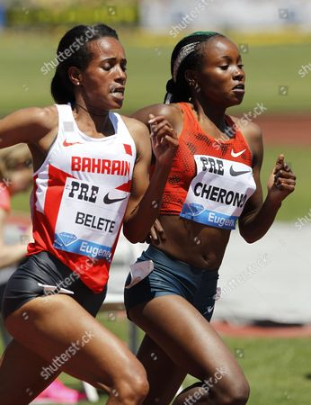 Mercy Cherono of Kenya (r) Competes with Mimi Belete of Bahrain (l) Compete in the Women's 2-mile Run on the Final Day of the Iaaf Diamond League Prefontaine Classic at Hayward Field in Eugene Oregon Usa 31 May 2014 United States Eugene