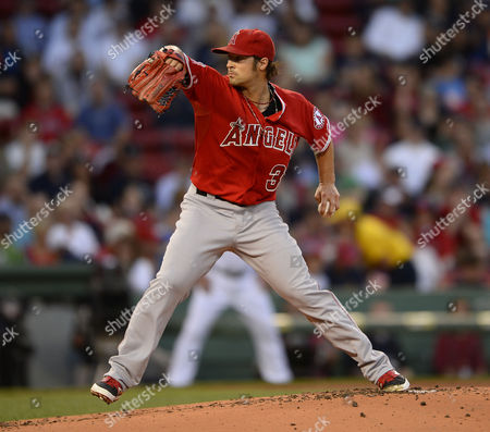 Los Angeles Angels Starting Pitcher C J Wilson Pitches During the First Inning Against the Boston Red Sox at Fenway Park in Boston Massachusetts Usa 18 August 2014 United States Boston