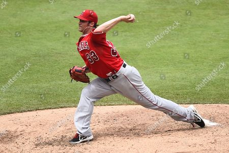 Los Angeles Angels Starting Pitcher C J Wilson in the Fourth Inning of the Mlb Game Between the Los Angeles Angels and the Kansas City Royals at Kauffman Stadium in Kansas City Missouri Usa 29 June 2014 United States Kansas City