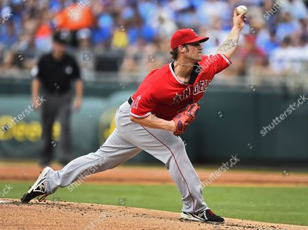 Los Angeles Angels Starting Pitcher C J Wilson in the First Inning of the Mlb Game Between the Los Angeles Angels and the Kansas City Royals at Kauffman Stadium in Kansas City Missouri Usa 29 June 2014 United States Kansas City