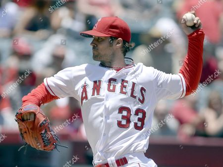 Los Angeles Angels Starting Pitcher C J Wilson Delivers Against the Chicago White Sox in the Second Inning of Their Mlb Game at Angel Stadium in Anaheim California Usa 08 June 2014 United States Anaheim