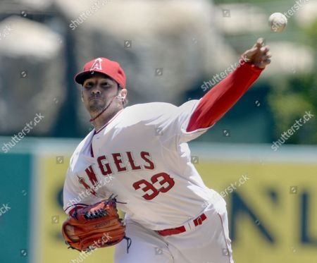 Los Angeles Angels Starting Pitcher C J Wilson Delivers Against the Chicago White Sox in the First Inning of Their Mlb Game at Angel Stadium in Anaheim California Usa 08 June 2014 United States Anaheim