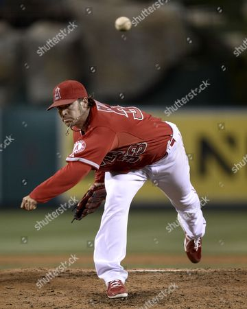 Los Angeles Angels of Anaheim Starting Pitcher C J Wilson Delivers in the Third Inning of Play of the Mlb Game Between the New York Yankees and the Los Angeles Angels at Angel Stadium in Anaheim California Usa 06 May 2014 United States Anaheim