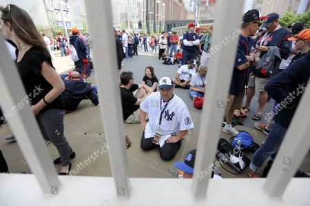 Scott Hansen (c) of Apple Valley Mn Waits Patiently For the Gates to Open For the All-star Game at Target Field in Minneapolis Minnesota Usa 15 July 2014 the National League Will Face the American League in the 2014 Mlb All-star Game Today United States Minneapolis