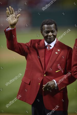 St Louis Cardinals Former Player Lou Brock Reacts to the Crowd During Pre-game Ceremonies Before Game Three of the 2013 Major League Baseball World Series Between the Boston Red Sox and the St Louis Cardinals at Busch Stadium in St Louis Missouri Usa 26 October 2013 Games One Two Six and Seven Will Be Played in Boston Massachusetts and Games Three Four and Five Will Be Played in St Louis Missouri As Necessary in the Best-of-seven Series United States St. Louis