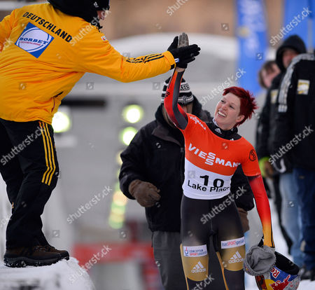 Anja Huber of Germany Celebrates Her Second Place Finish of the Fibt Bobsleigh and Skeleton World Cup Women's Skeleton Competition in Lake Placid New York Usa 13 December 2013 United States Lake Placid
