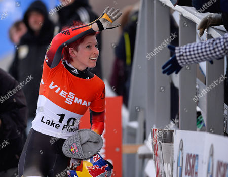 Anja Huber of Germany Celebrates Her Second Place Finish in the Fibt Bobsleigh and Skeleton World Cup Women's Skeleton Competition in Lake Placid New York Usa 13 December 2013 United States Lake Placid