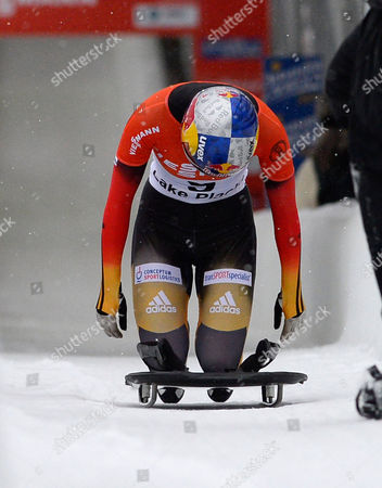 Anja Huber of Germany Prepares to Get Off Her Sled After Finishing Her Run in the Fibt Bobsleigh and Skeleton World Cup Women's Skeleton Competition in Lake Placid New York Usa 15 December 2013 the World Cup Race was Changed to a Single Heat Following Problems with the Ice Conditions United States Lake Placid