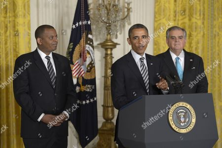 Stock Photo of Us President Barack Obama with Secretary of Transportation Ray Lahood (r) and His Nominee to Be Secretary of Transportation Charlotte Mayor Anthiny Foxx (l) Delivers Remarks During a Ceremony in the East Room of the White House in Washington Dc Usa 29 April 2013 Foxx if Confirmed Will Succeed Ray Lahood As the 17th Secretary of Transportation United States Washington