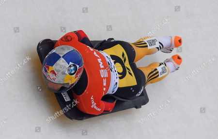 Stock Photo of Anja Huber Selbach of Germany in Action During the First Run of the Women's Skeleton World Cup at Mt Van Hoevenberg in Lake Placid New York Usa 12 December 2014 United States Lake Placid