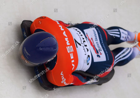 Elizabeth Yarnold of Britain in Action During the First Run of the Women's Skeleton World Cup at Mt Van Hoevenberg in Lake Placid New York Usa 12 December 2014 United States Lake Placid