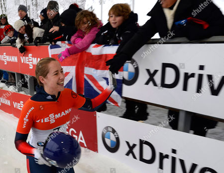 Elizabeth Yarnold of Britain Greets Fans Following Her Final Run in the Women's Skeleton of the Fibt World Cup Bobsled and Skeleton at Mt Van Hoevenberg in Lake Placid New York Usa 12 December 2014 United States Lake Placid