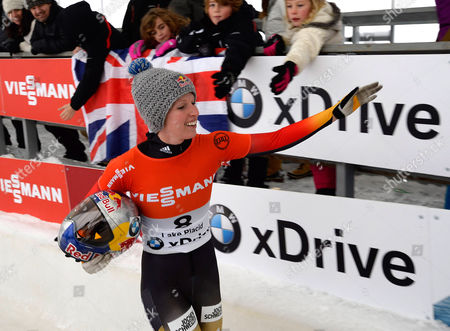 Anja Huber Selbach of Germany Greets Fans Following Her Final Run in the Women's Skeleton of the Fibt World Cup Bobsled and Skeleton at Mt Van Hoevenberg in Lake Placid New York Usa 12 December 2014 United States Lake Placid