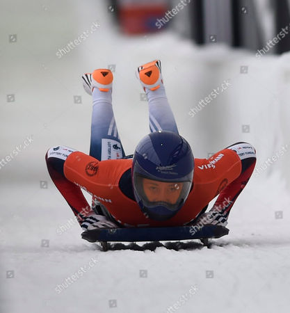 Stock Photo of Elizabeth Yarnold of Great Britain Reacts Following Her Gold Medal Finish in the Women's Skeleton of the Fibt World Cup Bobsled and Skeleton at Mt Van Hoevenberg in Lake Placid New York Usa 12 December 2014 United States Lake Placid