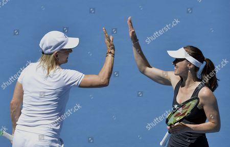 Martina Hingis (r) of Switzerland and Martina Navratilova of the Us During Their Women's Legends' Doubles Match Against Iva Majoli of Croatia and Barbara Schett of Austria at the Australian Open Grand Slam Tennis Tournament in Melbourne Australia 23 January 2014 Australia Melbourne