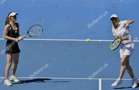 Martina Hingis (l) of Switzerland and Martina Navratilova of the Us During Their Women's Legends' Doubles Match Against Iva Majoli of Croatia and Barbara Schett of Austria at the Australian Open Grand Slam Tennis Tournament in Melbourne Australia 23 January 2014 Australia Melbourne