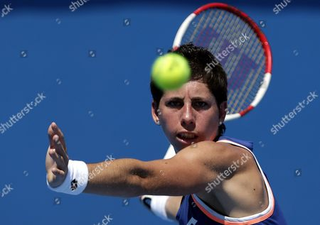 Carla Suarez Navarro of Spain in Action Against Galina Voskoboeva of Kazakhstan During Their Second Round Match at the Australian Open Grand Slam Tennis Tournament in Melbourne Australia 16 January 2014 Australia Melbourne