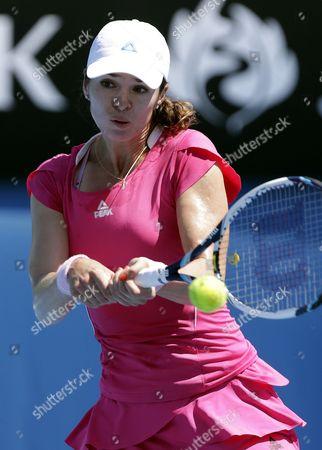 Galina Voskoboeva of Kazakhstan in Action Against Carla Suarez Navarro During Their Second Round Match at the Australian Open Grand Slam Tennis Tournament in Melbourne Australia 16 January 2014 Australia Melbourne